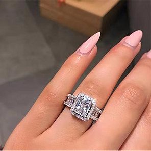 cheap Earrings-Women's Ring Belle Ring AAA Cubic Zirconia 1pc White Copper Silver-Plated Irregular Statement Luxury Party Evening Gift Jewelry Geometrical Wearable