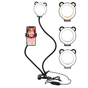 cheap LED Smart Home-Selfie Ring Light with Cell Phone Holder Stand Double Hose Fill Light Bracket Lazy Bracket Lamp Reading Lamp Bedside Lamp Live Stream Office Kitchen USB 1pc
