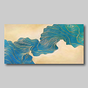 cheap Abstract Paintings-Oil Painting Hand Painted - Abstract Comtemporary Modern Stretched Canvas Beige Blue Lines