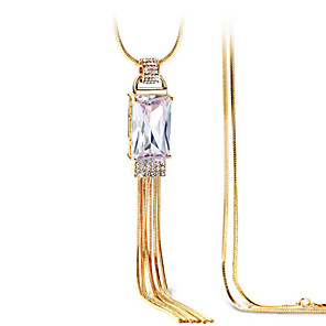 cheap Necklaces-Women's Clear Cubic Zirconia Long Necklace Classic Vertical / Gold bar Simple Classic Fashion Chrome Gold Silver 80 cm Necklace Jewelry 1pc For Gift Daily Festival