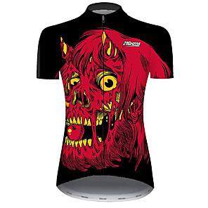 cheap Cycling Jerseys-21Grams Women's Short Sleeve Cycling Jersey Black / Red Novelty Fruit Bike Jersey Top Mountain Bike MTB Road Bike Cycling UV Resistant Breathable Quick Dry Sports Clothing Apparel / Stretchy