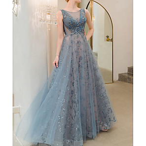 cheap Wedding Shoes-A-Line Sexy Blue Prom Formal Evening Dress Jewel Neck Sleeveless Floor Length Polyester with Sequin 2020