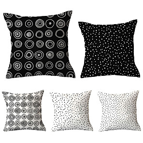 cheap Pillow Covers-5 pcs Polyester Pillow Cover, Geometric Geometic Vintage Pastoral Square Traditional Classic