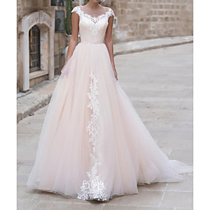 cheap Bathtub Faucets-A-Line Wedding Dresses Jewel Neck Sweep / Brush Train Lace Taffeta Chiffon Over Satin Short Sleeve Country Plus Size with Appliques 2020