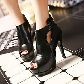 cheap Women's Sandals-Women's Sandals Heel Sandals Summer Stiletto Heel Open Toe Daily PU Black