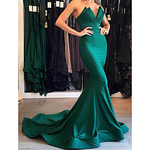 cheap Evening Dresses-Mermaid / Trumpet Beautiful Back Minimalist Formal Evening Dress Sweetheart Neckline Plunging Neck Sleeveless Court Train Matte Satin with Draping 2020
