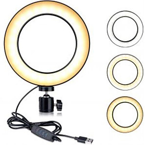 cheap Doorbell Systems-BRELONG® Round Selfie Ring Light LED Night Light Dimmable Easy Carrying Mode Switching USB 1pc