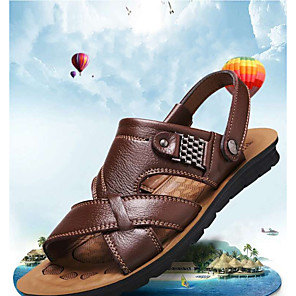 cheap Men's Sandals-Men's Cowhide Summer Classic Sandals Golf Shoes / Walking Shoes Breathable Booties / Ankle Boots Yellow / Brown / Black