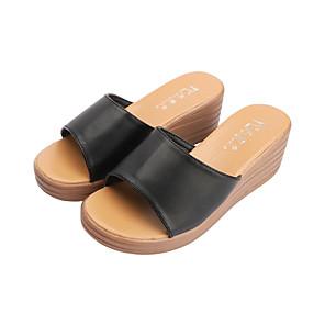 cheap Women's Sandals-Women's Slippers & Flip-Flops Wedge Sandals Summer Wedge Heel Open Toe Casual Daily PU White / Black