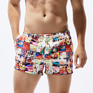 cheap Wetsuits, Diving Suits & Rash Guard Shirts-SEOBEAN® Men's Swim Shorts Swim Trunks Bottoms Quick Dry Drawstring - Swimming Surfing Painting Spring Summer / Micro-elastic