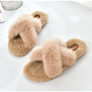 cheap Evening Dresses-Women's Slippers & Flip-Flops Flat Heel Open Toe Rabbit Fur Summer Black / Beige