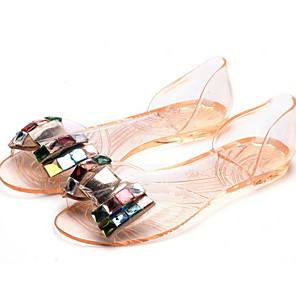 cheap Car DVD Players-Women's Sandals Flat Sandal Spring & Summer Flat Heel Round Toe Daily PVC Black / Gold