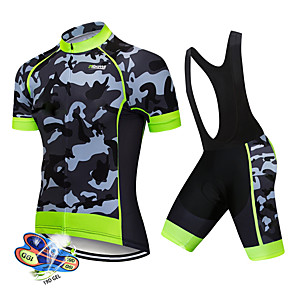 cheap Cycling Jerseys-21Grams Men's Short Sleeve Cycling Jersey with Bib Shorts Spandex Polyester White Black Patchwork Camo / Camouflage Bike Clothing Suit UV Resistant Breathable 3D Pad Quick Dry Sweat-wicking Sports