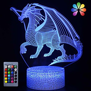 cheap 3D Night Lights-Dinosaur 3D Illusion Lamp for Boy Dinosaur Lamp 16 Colors with Remote Control Smart Touch Night Light Best Christmas Birthday Gift for Boy Girl Kids Age 5 4 3 1 6 2 7 8 9 10 11 Years Old