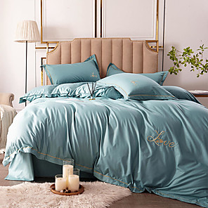 cheap Solid Duvet Covers-Duvet Cover Sets 4 Piece Linen / Polyester Blend Solid Colored Dark Yellow Yarn Dyed Dainty