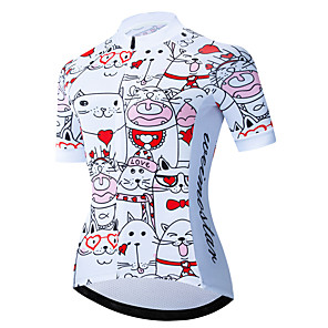 cheap Cycling Jerseys-21Grams Women's Short Sleeve Cycling Jersey Red / White Cat Dog Animal Bike Jersey Top Mountain Bike MTB Road Bike Cycling UV Resistant Breathable Quick Dry Sports Clothing Apparel / Stretchy