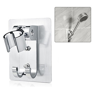cheap Hand Shower-Space aluminum Shower Holder Metal Adjustable Self-adhesive Suction Up Wall Mounted Bathroom Shower head Mounting Brackets