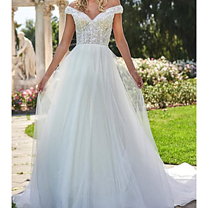 cheap Bridesmaid Dresses-A-Line Wedding Dresses Off Shoulder Sweep / Brush Train Lace Tulle Cap Sleeve Country Plus Size with Lace Embroidery 2020