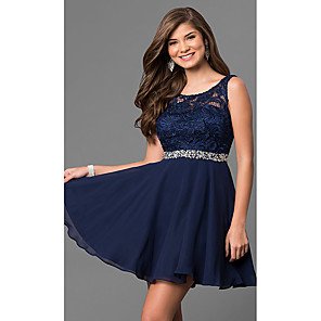 cheap Cocktail Dresses-A-Line Elegant Flirty Homecoming Cocktail Party Dress Jewel Neck Sleeveless Short / Mini Chiffon Lace with Crystals 2020