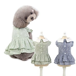 cheap Dog Clothes-Dog Dress Heart Letter & Number Dog Clothes Blue Gray Costume Cotton XS S M L