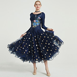 cheap Ballroom Dancewear-Ballroom Dance Dress Embroidery Split Joint Crystals / Rhinestones Women's Training Performance Long Sleeve Spandex Tulle