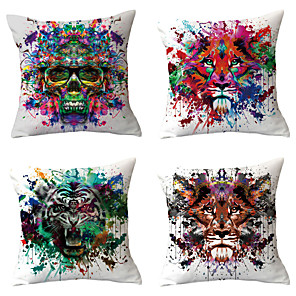 cheap Sale-4 pcs Throw Pillow Simple Classic 45*45 cm Linen Pillow Cover Geometric Bohemian Style Retro