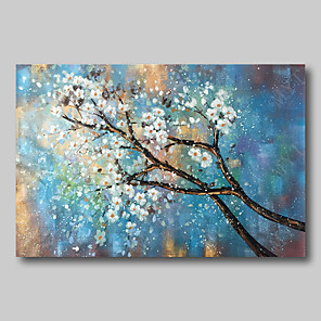 cheap Floral/Botanical Paintings-Oil Painting Hand Painted - Abstract Comtemporary Modern Stretched Canvas White Blossom