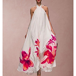 cheap Maxi Dresses-Women's Maxi A Line Dress - Sleeveless Print White S M L XL XXL