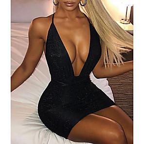 cheap Women's Sandals-Women's Strap Dress Short Mini Dress - Sleeveless Solid Color Sexy Slim Black Blushing Pink Beige S M L XL