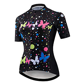 cheap Cycling Jerseys-21Grams Women's Short Sleeve Cycling Jersey Black / Red Butterfly Bike Jersey Top Mountain Bike MTB Road Bike Cycling UV Resistant Breathable Quick Dry Sports Clothing Apparel / Stretchy / Race Fit