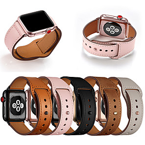 cheap Smartwatch Bands-Genuine Leather Band Loop Strap For Apple Watch 5 4 3 2 1 Men Leather Watch Band