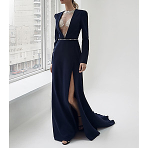 cheap Prom Dresses-Sheath / Column Sexy Blue Engagement Formal Evening Dress V Neck Long Sleeve Sweep / Brush Train Satin with Sash / Ribbon Split 2020