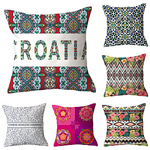 cheap Sale-6 pcs Polyester Pillow Cover, Retro Plaid Simple Classic Square Traditional Classic