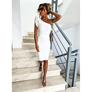 cheap Women's Heels-Women's Bodycon Dress - Sleeveless Solid Color Backless Ruffle One Shoulder Daily Black Beige S M L XL