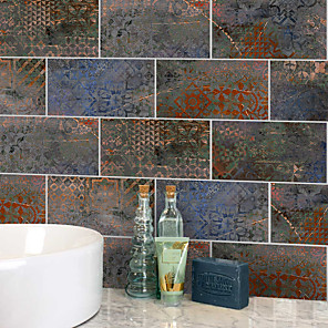 cheap Wall Stickers-20x10cmx9pcs Iron Rusty Brick Wall Stickers Retro Oil-proof Waterproof Tile Wallpaper For Kitchen Bathroom Ground Wall House Decoration