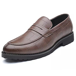 cheap Evening Dresses-Men's PU Spring & Summer Casual Loafers & Slip-Ons Non-slipping Brown / Black