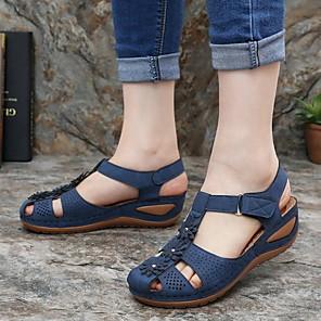 cheap Women's Sandals-Women's Sandals Wedge Sandals Flat Sandal Summer Flat Heel Round Toe Daily PU Black / Purple / Yellow