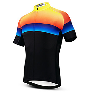 cheap Samsung Case-21Grams Men's Short Sleeve Cycling Jersey Black / Yellow Gradient Bike Jersey Top Mountain Bike MTB Road Bike Cycling UV Resistant Breathable Quick Dry Sports Clothing Apparel / Stretchy / Race Fit