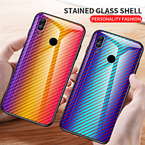 cheap Huawei Case-Luxury Gradient Carbon Fiber Phone Case For Huawei Y7 2019 Y6 2019 P Smart 2019 Y5 2019 Y9 2019 Y9 Prime 2019 Honor 10 Lite P Smart Z Shockproof Tempered Glass Back Cover Soft TPU Bumper Protection