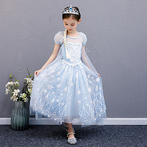 cheap Movie & TV Theme Costumes-Princess Elsa Dress Flower Girl Dress Girls' Movie Cosplay A-Line Slip Blue Dress Children's Day Masquerade Tulle Sequin Cotton