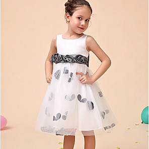 cheap Girls' Dresses-Ball Gown Ankle Length Party Flower Girl Dresses - Polyester Sleeveless Jewel Neck with Pattern / Print / Appliques