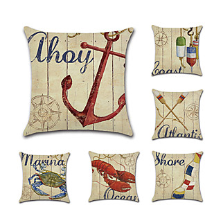 cheap Pillow Covers-6 pcs Linen Pillow Cover, Animal Nautical Mediterranean Leisure Square Traditional Classic