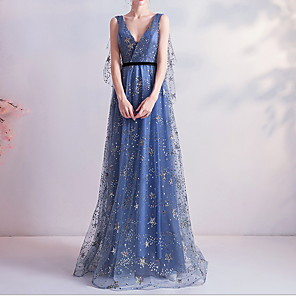 cheap Prom Dresses-A-Line Elegant Blue Wedding Guest Formal Evening Dress V Neck Sleeveless Floor Length Polyester with Sequin 2020