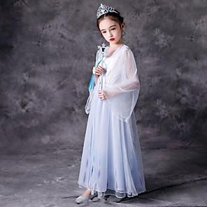 cheap Movie & TV Theme Costumes-Princess Elsa Dress Flower Girl Dress Girls' Movie Cosplay A-Line Slip White Dress Halloween Carnival Masquerade Tulle Cotton