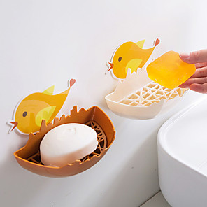 cheap Cooking Utensils-Cute Cartoon Chicken Soap Box Without Punching Drain Soap Box Toilet Wall-mounted Storage Box Soap Box