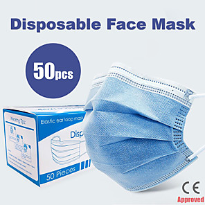 cheap Phones & Accessories-50 pcs Face Mask Breathable Disposable Protective 3 Layers In Stock Nonwoven Fabric Nonwoven CE  Certification Waterproof Carrying High Quality Blue