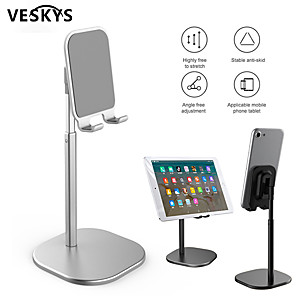 cheap Phone Mounts & Holders-VESKYS Rotating tablet flexible phone holder for iphone Universal cell desktop stand for phone Tablet Stand mobile support table