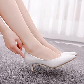 cheap Women's Heels-Women's Wedding Shoes Kitten Heel Pointed Toe PU Casual / Minimalism Spring & Summer / Fall & Winter White