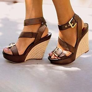 cheap Women's Sandals-Women's Sandals Wedge Sandals Summer Wedge Heel Open Toe Daily PU Black / Brown