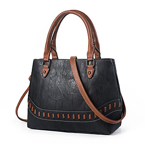 cheap Handbag & Totes-Women's Bags PU Leather / Straw Top Handle Bag Zipper for Daily / Office & Career Black / Army Green / Dark Red / Fall & Winter